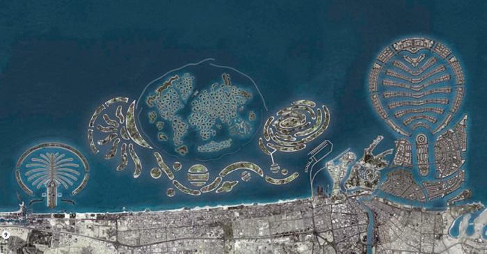 Đảo Cọ - bao gồm ba hòn đảo nhân tạo: Palm Deira, Palm Jebel Ali và Palm Jumeirah.