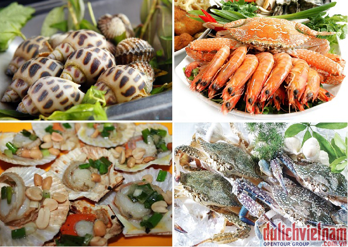 Du khách được tha hồ thưởng thức các món Hải sản Nha Trang