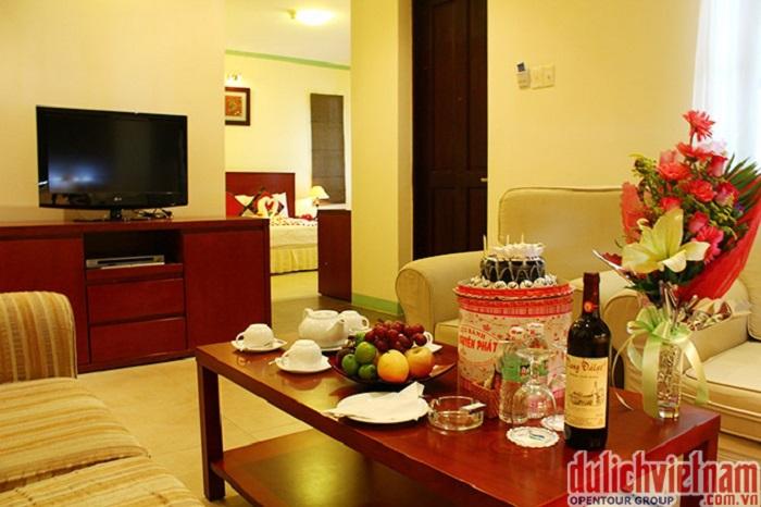 Phòng của khu nghỉ dưỡng với đầy đủ tiện nghi
